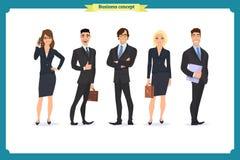 Gens d'affaires du travail d'équipe, illustration de vecteur dans un style plat Équipe d'affaires Un groupe de personnes s'est ha illustration stock