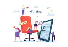 Gens d'affaires engageant le nouveau personnel Présidence de bureau avec le signe d'offre d'emploi Chasseurs principaux Les carac illustration stock