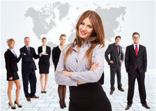 Gens d'affaires envisageant l'avenir Image libre de droits