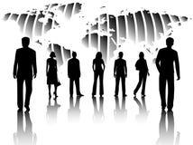 Gens d'affaires et carte Images libres de droits