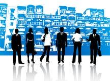Gens d'affaires et constructions Photographie stock