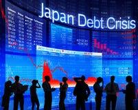 Gens d'affaires et crise de dette du Japon Image libre de droits