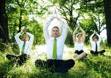 Gens d'affaires faisant le yoga dehors images libres de droits