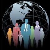 Gens d'affaires global de globe de la terre sur le noir Photo stock