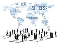 Gens d'affaires globaux de réunion de la société de succès de concept de croissance illustration libre de droits