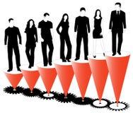 Gens d'affaires, graphique et roues dentées Image libre de droits