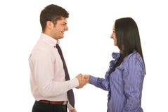 Gens d'affaires heureux de prise de contact Images stock