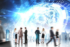 Gens d'affaires, HUD Earth, avenir images libres de droits