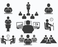 Gens d'affaires Icônes de bureau, conférence, travail d'ordinateur Image libre de droits