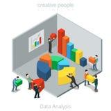 Gens d'affaires plats isométriques de diagramme de données de vecteur illustration stock