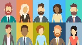 Gens d'affaires réglés d'icône d'avatar de profil, visage de collection d'hommes d'affaires de portrait Image libre de droits