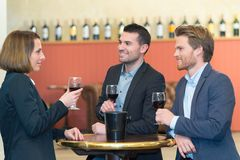 Gens d'affaires réussis de groupe discutant et buvant du vin Photo stock
