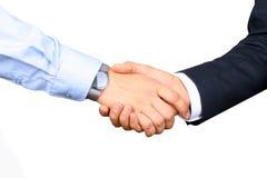 Gens d'affaires réussis se serrant la main sur un fond blanc Photographie stock