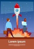 Gens d'affaires regardant pilotants Rocket Teamwork Startup Concept illustration de vecteur