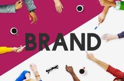 Gens d'affaires rencontrant le concept de marketing de marque Photo stock
