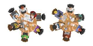 Gens d'affaires s'asseyant sur l'illustration de vecteur de table illustration libre de droits