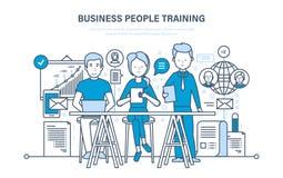 Gens d'affaires s'exerçant, consultant, apprenant, enseignant, éducation, croissance de carrière, travail d'équipe illustration libre de droits