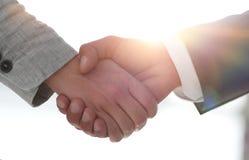 Gens d'affaires se serrant la main d'isolement sur le fond blanc Photo libre de droits