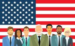 Gens d'affaires supérieurs de drapeau de Team Over United States American de groupe d'hommes d'affaires Image libre de droits