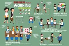 Gens d'affaires travaillant des éléments d'infographics Images stock