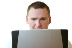 Gens d'affaires - travaillant sur l'ordinateur portatif Image libre de droits