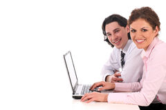 Gens d'affaires travaillant sur l'ordinateur portatif Photographie stock
