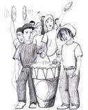 Gens de danse de tambour de rythmes Photo libre de droits