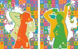 Gens de danse sur le fond de couleur Image stock