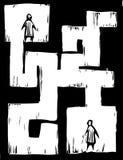 Gens de labyrinthe illustration de vecteur