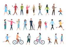 Gens de marche Personnes dans des vêtements sport, promenades de foule dans la ville Ensemble humain de caractères de vecteur illustration de vecteur