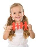 Gens de papier de fixation de petite fille - concept de la famille Photographie stock libre de droits