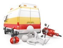 gens du blanc 3d Ambulance dans un accident de moto Image stock