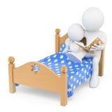 gens du blanc 3d Engendrez lire une histoire pour endormir à son fils dans soit Photo libre de droits