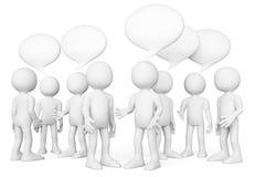 gens du blanc 3d Groupe de personnes parler Concept de causerie Images libres de droits