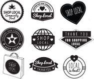 Gens du pays de boutique, boutiques de la communauté et logos de magasins illustration de vecteur