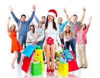 gens heureux de groupe de Noël Images stock