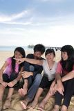 gens heureux de plage photo libre de droits