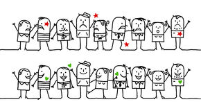Gens heureux et fâchés illustration stock