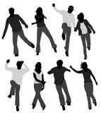 Gens heureux - silhouettes Photographie stock libre de droits