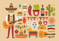 Gens mexicains réglés dans le style plat illustration stock