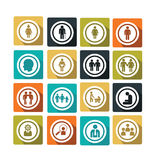 Gens. Set of flat and colorful people icons Royalty Free Stock Images
