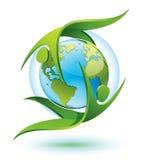Gens verts tournant autour de la terre illustration de vecteur