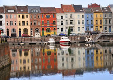 Gent. Channel of the town of Ghent in Belgium Stock Photography