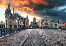 Gent, Belgien während der Nacht, alte Stadt des Herrn Stockfotos