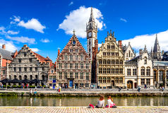 Gent, Belgium. 11 AUGUST 2015: Graslei historical center of Gent (Ghent) with water canal and medieval house facades, West Flanders in Belgium Stock Photo