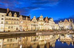 GENT, BELGIUM - MARCH 2015: Tourists visit ancient medieval city Royalty Free Stock Photos