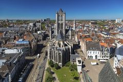 Gent, Belgium - View of the city and the church of St. Nicholas royalty free stock image