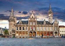 Gent bij nacht, België stock afbeeldingen