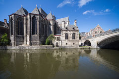 Gent canal in the old city center Royalty Free Stock Photo