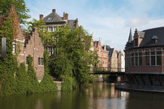 Gent - canal and typical brick houses Royalty Free Stock Photos